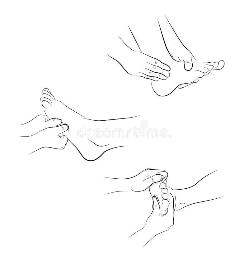 Close-up van een Young Woman Getting Spa Behandeling handbewegingen voor voetenmassage medische aanbevelingen Vector illustratie stock illustratie