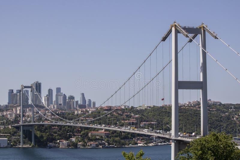 Close-up van Fatih Sultan Mehmet Bridge royalty-vrije stock afbeelding