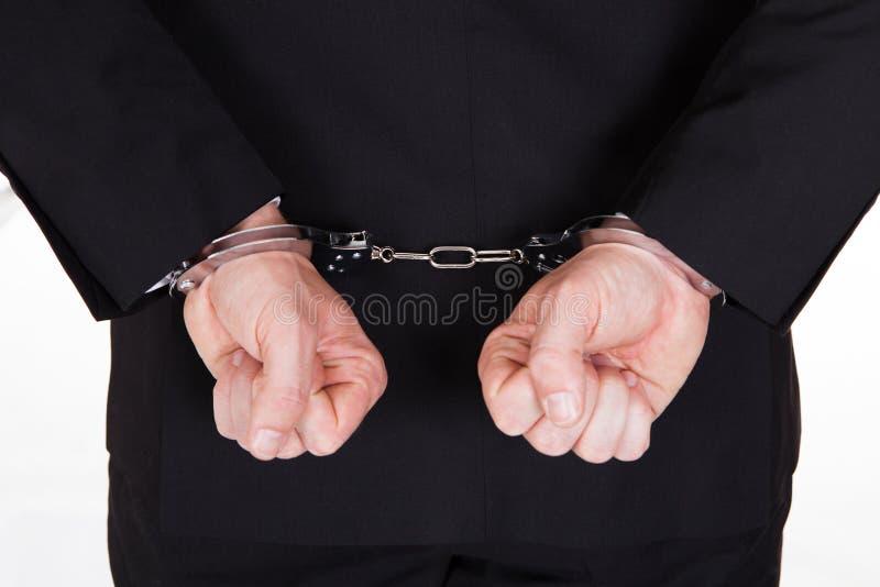 Close-up van gearresteerde zakenman royalty-vrije stock afbeelding