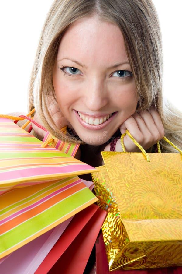 Close-up van gelukkige jonge vrouw op een aanval van koopwoede. royalty-vrije stock foto's