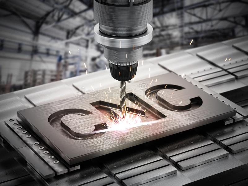 Close-up van generisch CNC boormateriaal 3D Illustratie vector illustratie