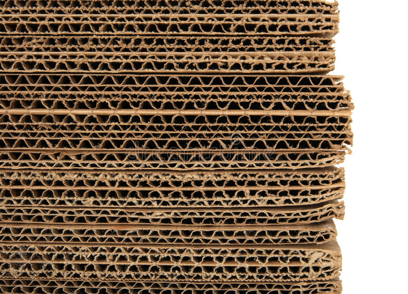 Close-up van gestapeld golfkarton royalty-vrije stock afbeeldingen