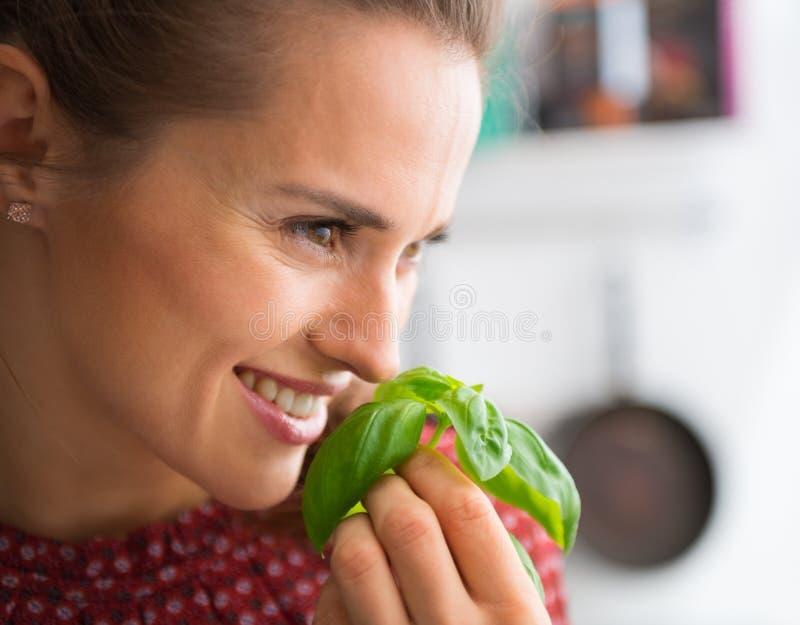 Close-up van glimlachende vrouw die en vers basilicum steunen ruiken stock afbeeldingen
