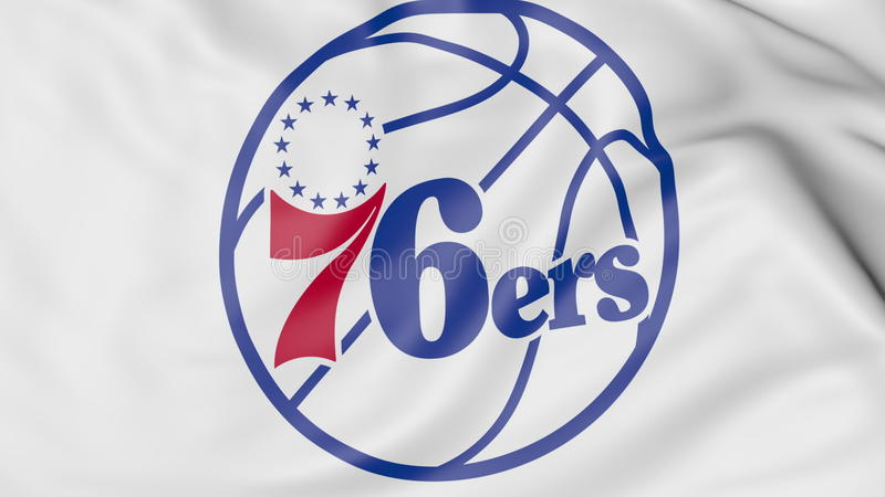 Close-up van golvende vlag met het embleem van het het basketbalteam van Philadelphia 76ers NBA, het 3D teruggeven stock illustratie