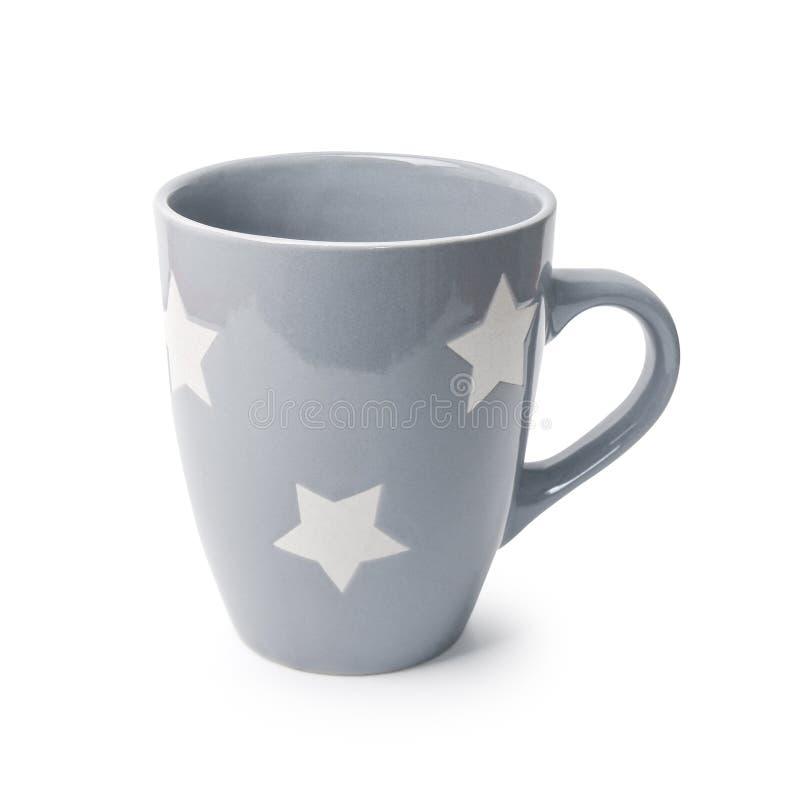 Close-up van Grey Color Drink Cup Mock-Up Ceramische Mok Enige Lege Spatie voor Koffie of Thee Gray Mug met Sterren op een Wit wo stock foto's
