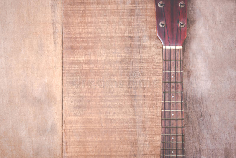 Close-up van grungeukelele op houten achtergrond royalty-vrije stock foto