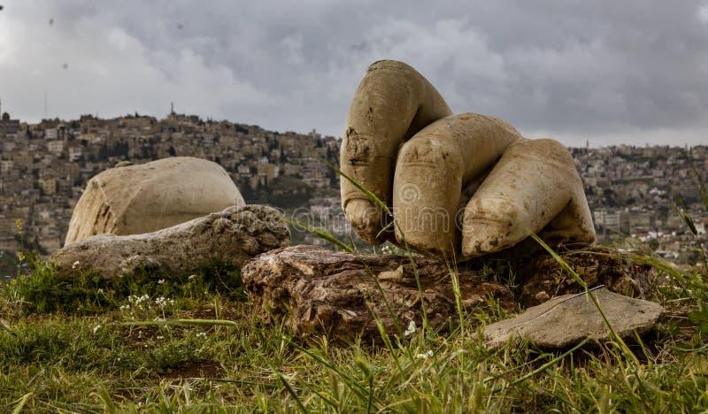 Close-up van Hand van Hercules in Amman, Jordani? royalty-vrije stock foto's