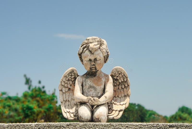 Close-up van het bidden het standbeeld van de babyengel op grafsteen met erachter bomen en blauwe hemel stock foto