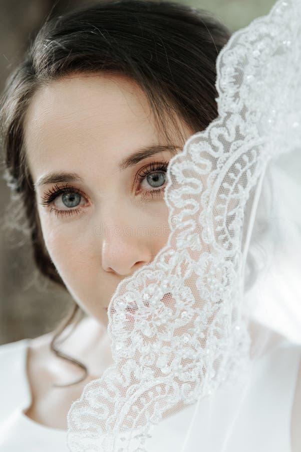 Close-up van het elegante, donkerbruine bruid stellen onder sluierclose-up die wordt geschoten stock foto