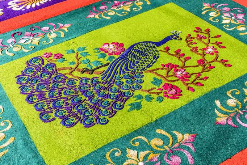 Close-up van het geverfte zaagsel Geleende detail van het optochttapijt, Antigua, Guatemala royalty-vrije stock foto