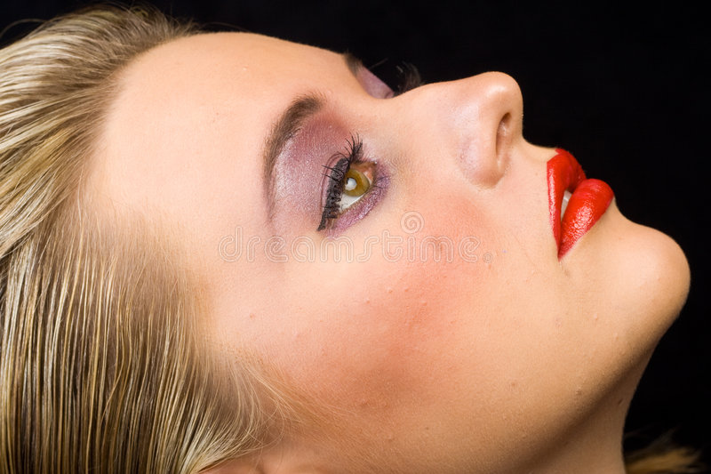 Close-up van het gezicht van de vrouw stock foto's