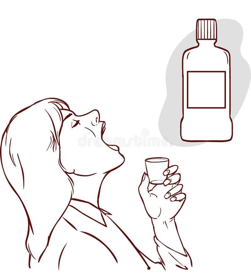 Close-up van het medio volwassen vrouw nippen van een mondspoelingskop vector illustratie