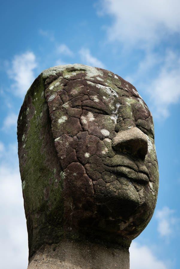 Close-up van het oude standbeeld van steenboedha in Historische Ayutthaya royalty-vrije stock afbeeldingen