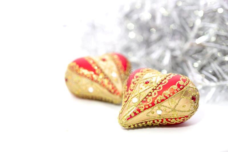 Close-up van het rode hart van Kerstmisballen royalty-vrije stock foto
