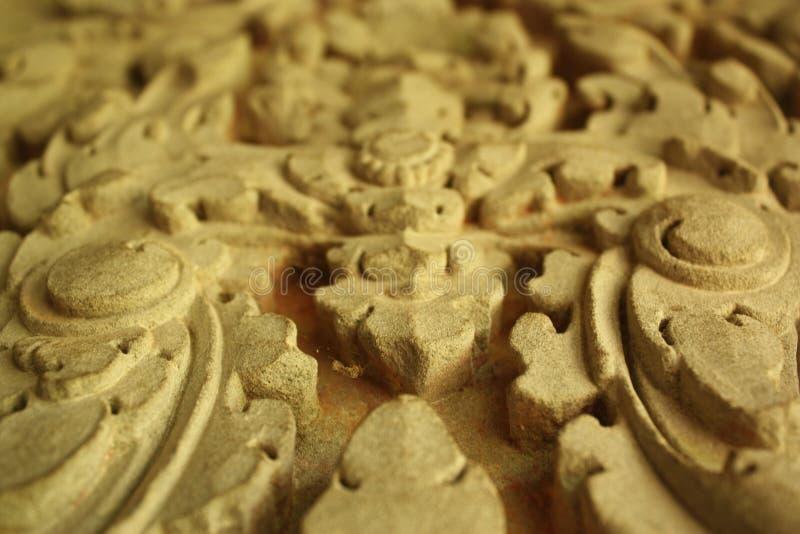 Close-up van historische gravure in het monument van Kambodja royalty-vrije stock afbeelding