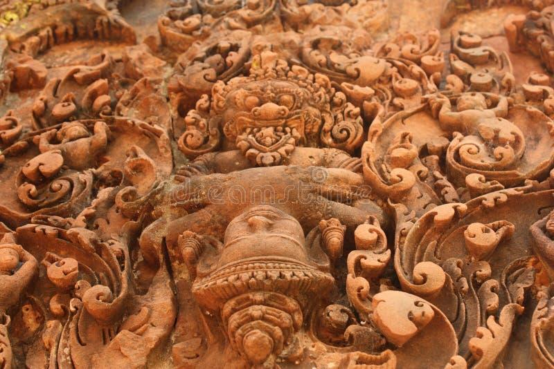 Close-up van historische gravure in het monument van Kambodja royalty-vrije stock foto's