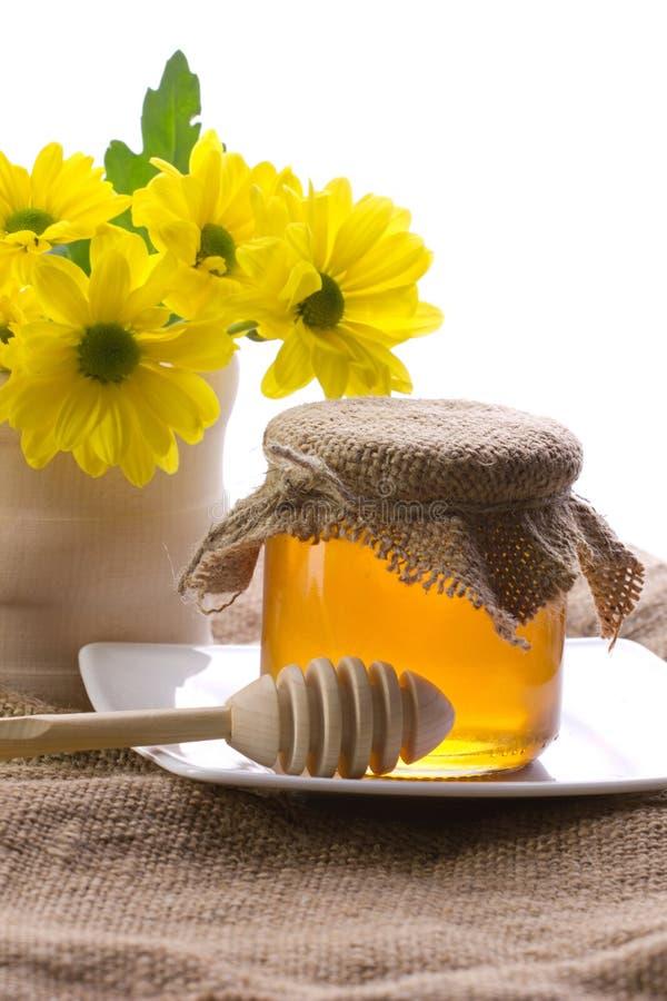 Close-up van honing en bloemen stock foto's