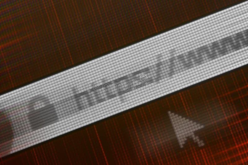 Close-up van HTTP-Adres in Webbrowser in Schaduwen van rood royalty-vrije stock fotografie