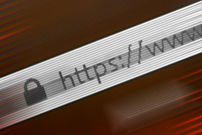 Close-up van HTTP-Adres in Webbrowser in Schaduwen van rood stock fotografie
