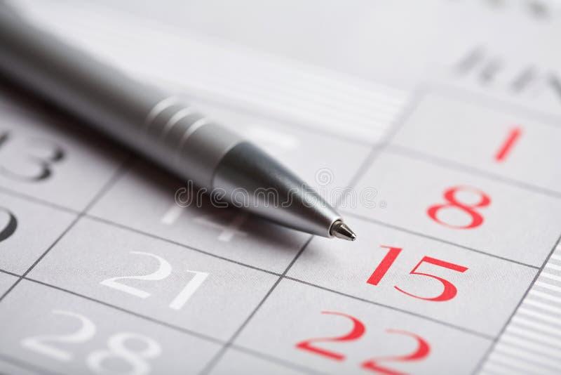 Close-up van kalenderpagina stock afbeeldingen