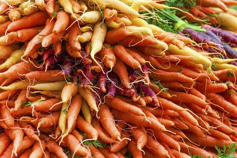 Close-up van kleurrijke bossen van wortelen stock fotografie