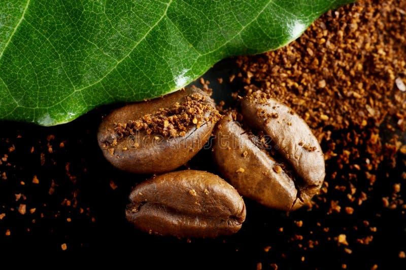Close-up van koffiepoeder wordt geschoten, bonen met groen blad op zwarte die stock foto