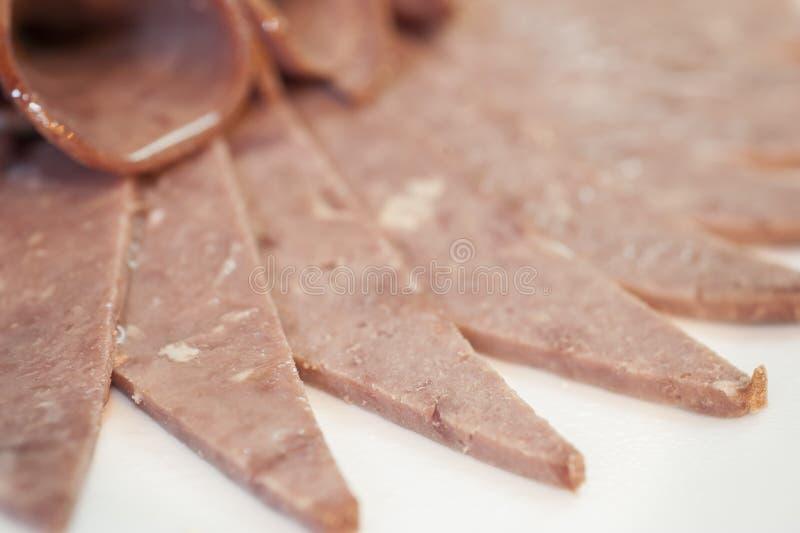 Close-up van koude vleesplakken stock fotografie