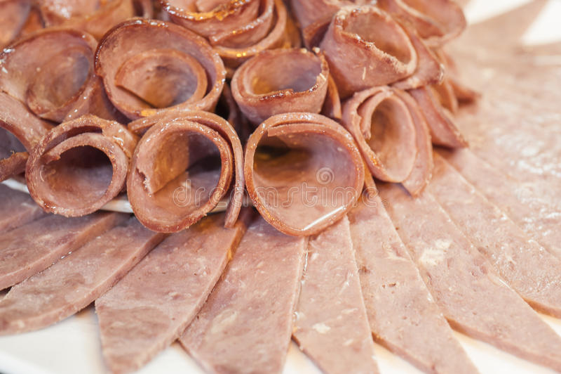 Close-up van koude vleesplakken royalty-vrije stock afbeeldingen