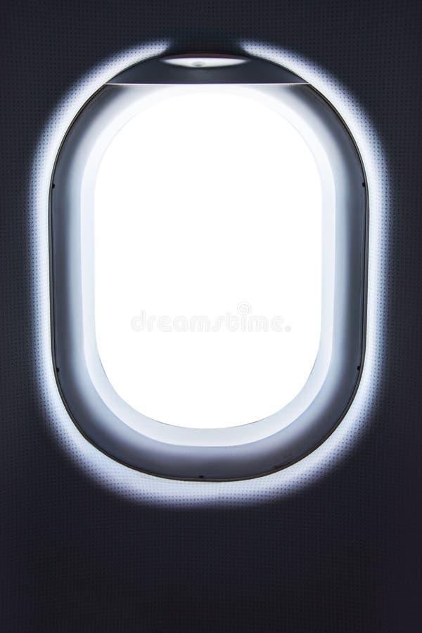 Close-up van lege vliegtuigen` s patrijspoort Het venster van het vliegtuig royalty-vrije stock foto