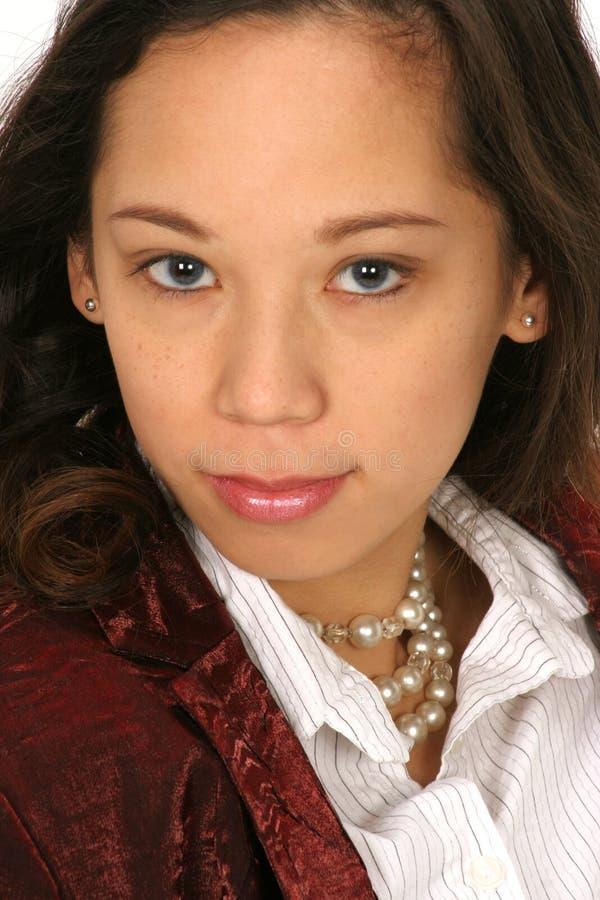 Close-up van meisje dat bereid is om u bij te staan royalty-vrije stock afbeelding