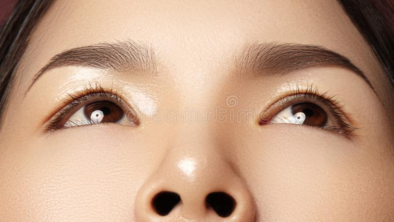 Close-up van Mooi Aziatisch Vrouwelijk Oog met Perfecte Vormwenkbrauwen Schone huid, manier naturel samenstelling Goede Visie stock afbeelding