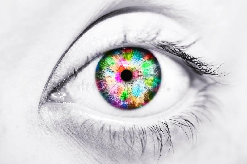 Close-up van mooi kleurrijk menselijk oog royalty-vrije stock afbeeldingen