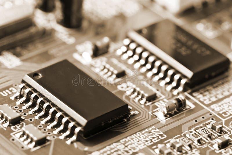 Close-up van motherboard, met ruimte voor embleem royalty-vrije stock afbeelding