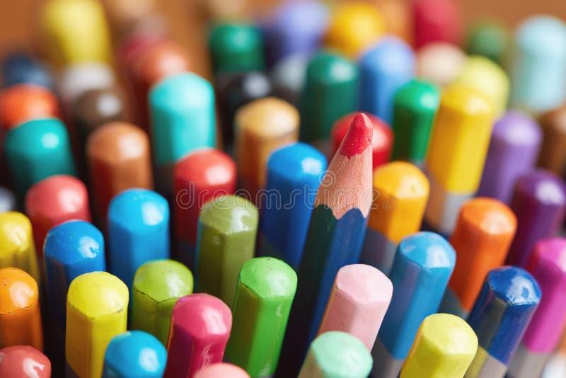 Close-up van van Multikleurpotloden stock fotografie