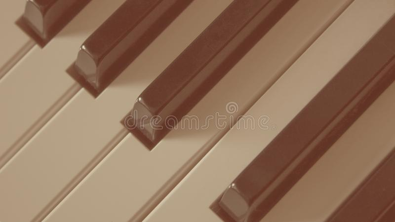 Close-up van muzikale het instrumenten oude retro stijl van pianosleutels stock afbeeldingen
