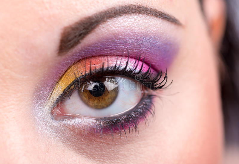 Close-up van oogmake-up stock foto's