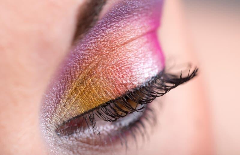 Close-up van oogmake-up royalty-vrije stock afbeelding