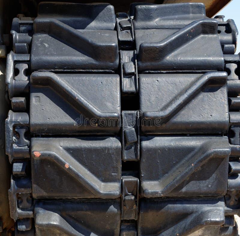 Close-up van oud Sherman-tanksporen of loopvlak royalty-vrije stock foto