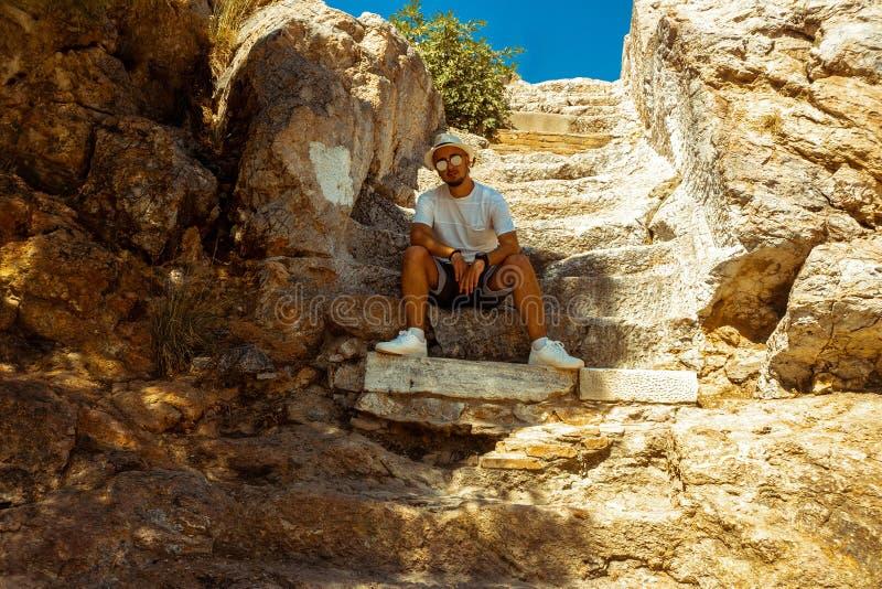 Close-up van oude Griekse ru?nes stock foto's