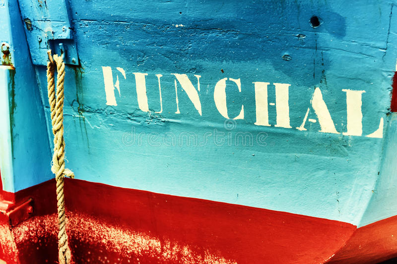 Close-up van oude vissersboot in Funchal, Madera royalty-vrije stock foto