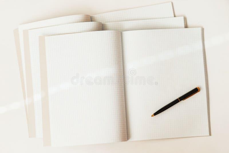 Close-up van pen op een achtergrond van grote open lege en lege notitieboekjes in een kooi, hoogste mening, textuur Plaats voor t royalty-vrije stock afbeeldingen