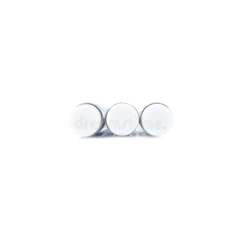 Close-up van potloodgom op wit wordt geïsoleerd dat stock fotografie