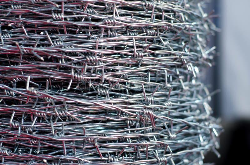 Close-up van prikkeldraad stock foto's