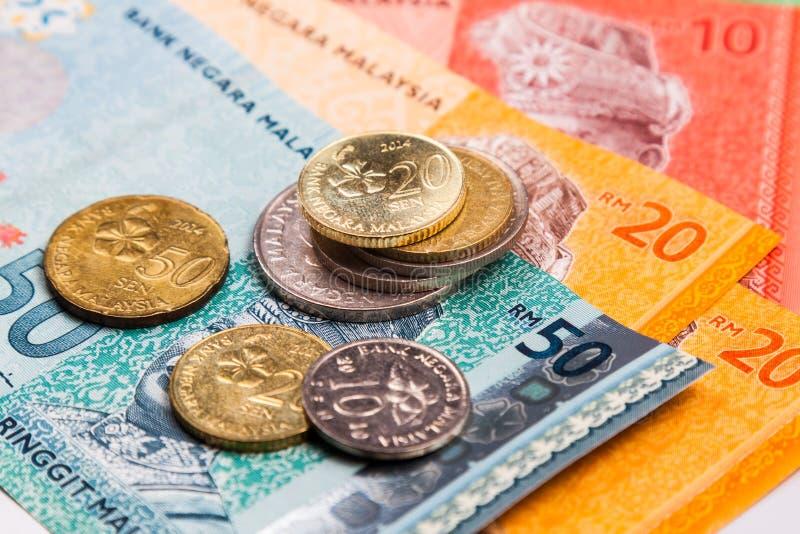 Close-up van Ringgit van Maleisië muntnota's en muntstukken stock afbeeldingen