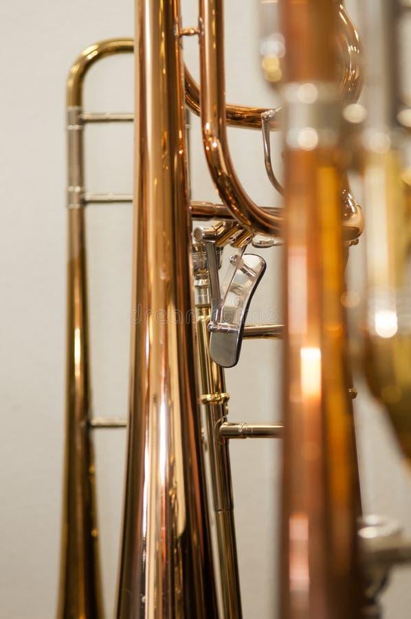 Close-up van Rood Messingsbuizenstelsel op Trombone royalty-vrije stock afbeelding