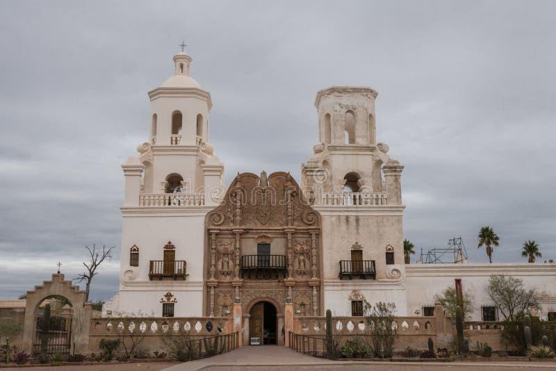 Close-up van San Xavier Del Bac Mission, Tucson Arizona de V.S. stock foto's