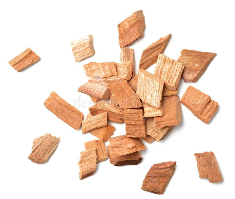 Close-up van sandelhout op witte, hoogste mening wordt geïsoleerd die stock afbeeldingen