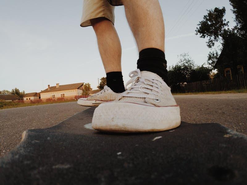 Close-up van skateboard in motie, royalty-vrije stock foto