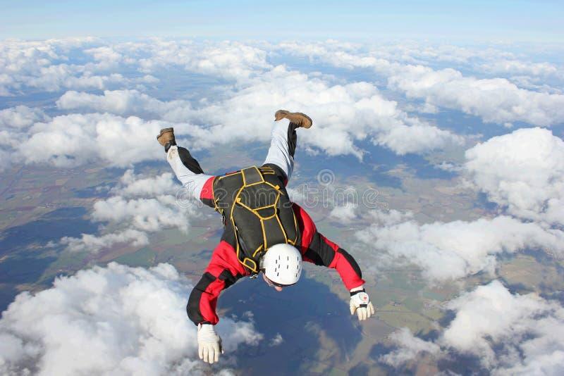 Close-up van skydiver in vrije val royalty-vrije stock fotografie