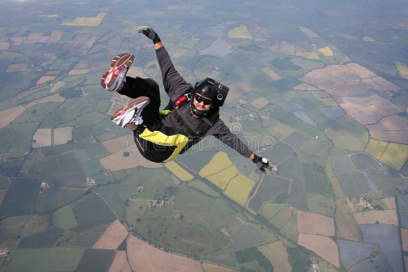 Close-up van Skydiver in vrije val royalty-vrije stock foto's